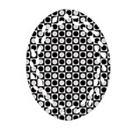 Modern Dots In Squares Mosaic Black White Oval Filigree Ornament (2-Side)  Front