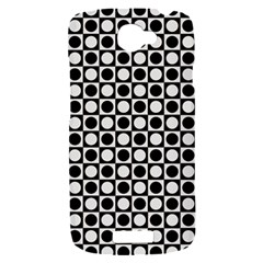 Modern Dots In Squares Mosaic Black White HTC One S Hardshell Case