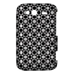 Modern Dots In Squares Mosaic Black White HTC Wildfire S A510e Hardshell Case