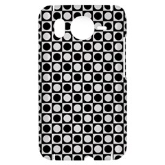 Modern Dots In Squares Mosaic Black White HTC Desire HD Hardshell Case