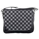 Modern Dots In Squares Mosaic Black White Messenger Bags Front