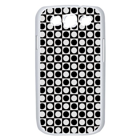 Modern Dots In Squares Mosaic Black White Samsung Galaxy S III Case (White)