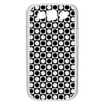 Modern Dots In Squares Mosaic Black White Samsung Galaxy S III Case (White) Front