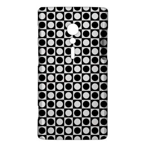 Modern Dots In Squares Mosaic Black White Sony Xperia ion