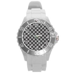Modern Dots In Squares Mosaic Black White Round Plastic Sport Watch (l)