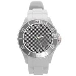 Modern Dots In Squares Mosaic Black White Round Plastic Sport Watch (L) Front