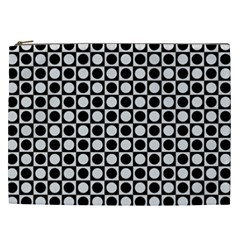 Modern Dots In Squares Mosaic Black White Cosmetic Bag (XXL)