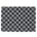 Modern Dots In Squares Mosaic Black White Cosmetic Bag (XXL)  Front