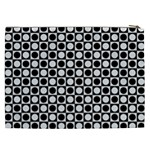 Modern Dots In Squares Mosaic Black White Cosmetic Bag (XXL)  Back