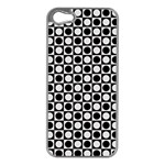 Modern Dots In Squares Mosaic Black White Apple iPhone 5 Case (Silver) Front
