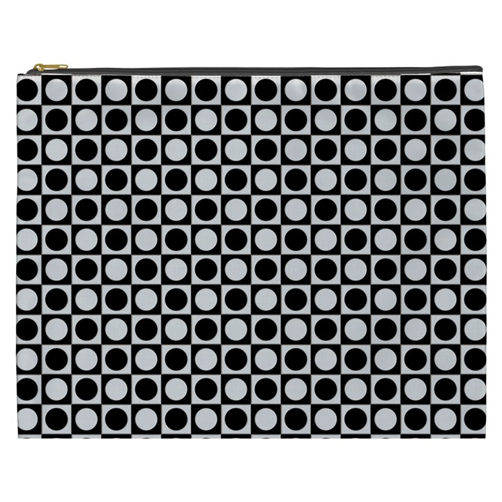 Modern Dots In Squares Mosaic Black White Cosmetic Bag (XXXL)