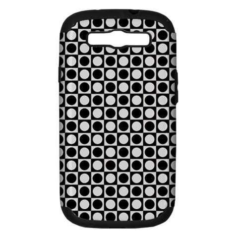 Modern Dots In Squares Mosaic Black White Samsung Galaxy S III Hardshell Case (PC+Silicone)