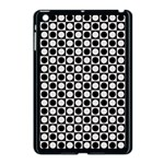 Modern Dots In Squares Mosaic Black White Apple iPad Mini Case (Black) Front