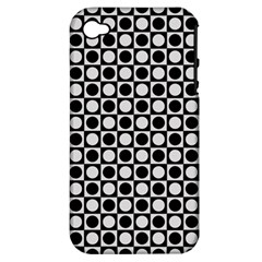 Modern Dots In Squares Mosaic Black White Apple iPhone 4/4S Hardshell Case (PC+Silicone)