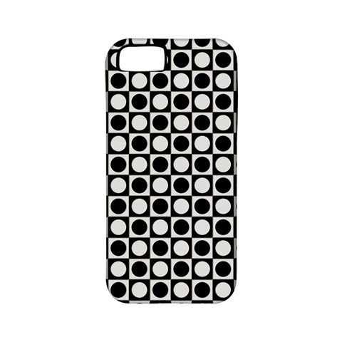 Modern Dots In Squares Mosaic Black White Apple iPhone 5 Classic Hardshell Case (PC+Silicone)