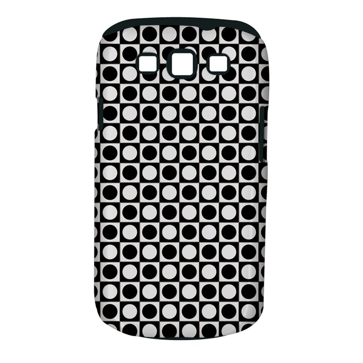 Modern Dots In Squares Mosaic Black White Samsung Galaxy S III Classic Hardshell Case (PC+Silicone)