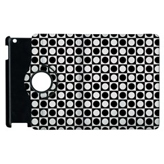 Modern Dots In Squares Mosaic Black White Apple iPad 3/4 Flip 360 Case