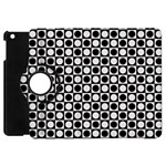 Modern Dots In Squares Mosaic Black White Apple iPad Mini Flip 360 Case Front