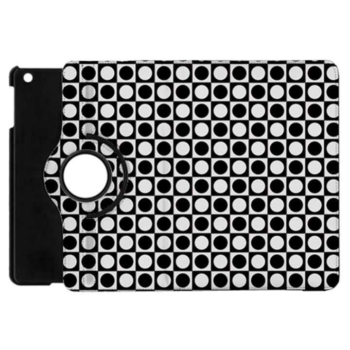 Modern Dots In Squares Mosaic Black White Apple iPad Mini Flip 360 Case