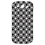 Modern Dots In Squares Mosaic Black White Samsung Galaxy S3 S III Classic Hardshell Back Case Front