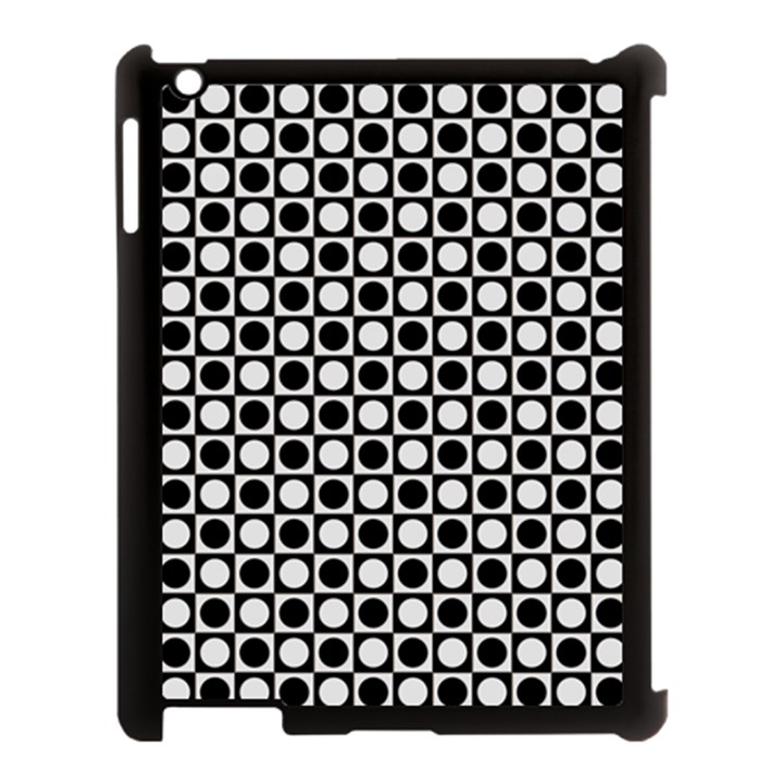 Modern Dots In Squares Mosaic Black White Apple iPad 3/4 Case (Black)