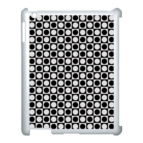 Modern Dots In Squares Mosaic Black White Apple iPad 3/4 Case (White)