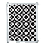 Modern Dots In Squares Mosaic Black White Apple iPad 3/4 Case (White) Front