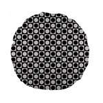 Modern Dots In Squares Mosaic Black White Standard 15  Premium Round Cushions Back