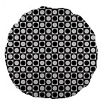 Modern Dots In Squares Mosaic Black White Large 18  Premium Round Cushions Back