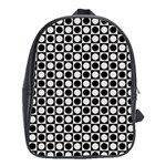 Modern Dots In Squares Mosaic Black White School Bags (XL)  Front