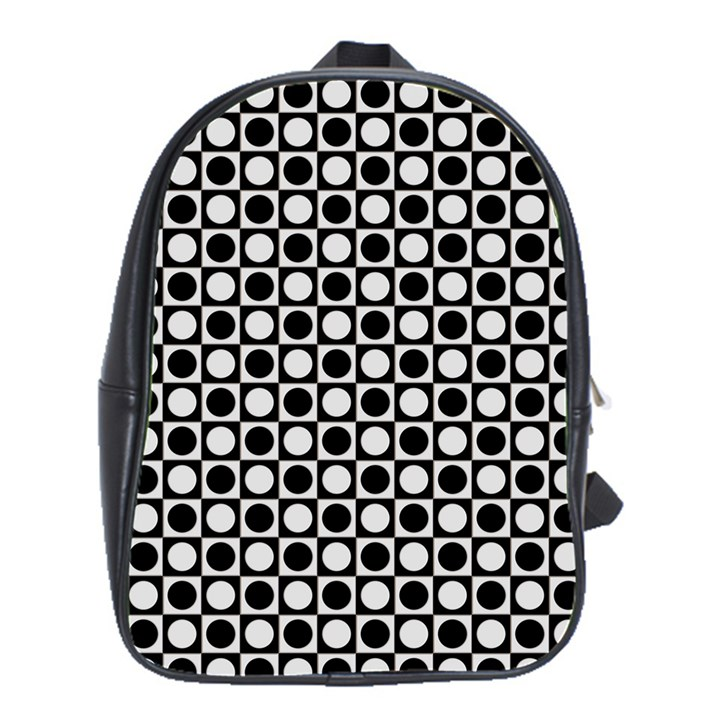 Modern Dots In Squares Mosaic Black White School Bags (XL)