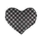 Modern Dots In Squares Mosaic Black White Standard 16  Premium Heart Shape Cushions Front