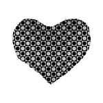 Modern Dots In Squares Mosaic Black White Standard 16  Premium Heart Shape Cushions Back
