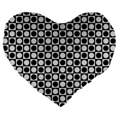 Modern Dots In Squares Mosaic Black White Large 19  Premium Heart Shape Cushions