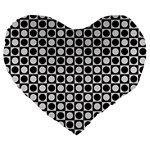 Modern Dots In Squares Mosaic Black White Large 19  Premium Heart Shape Cushions Front