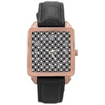 Modern Dots In Squares Mosaic Black White Rose Gold Leather Watch  Front
