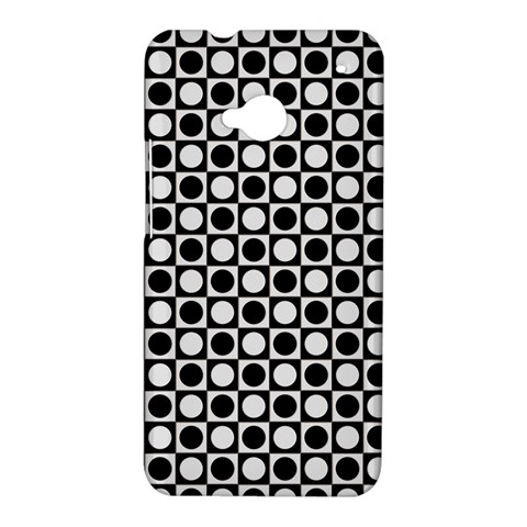 Modern Dots In Squares Mosaic Black White HTC One M7 Hardshell Case