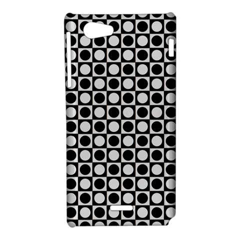 Modern Dots In Squares Mosaic Black White Sony Xperia J