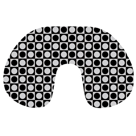Modern Dots In Squares Mosaic Black White Travel Neck Pillows
