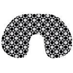 Modern Dots In Squares Mosaic Black White Travel Neck Pillows Back