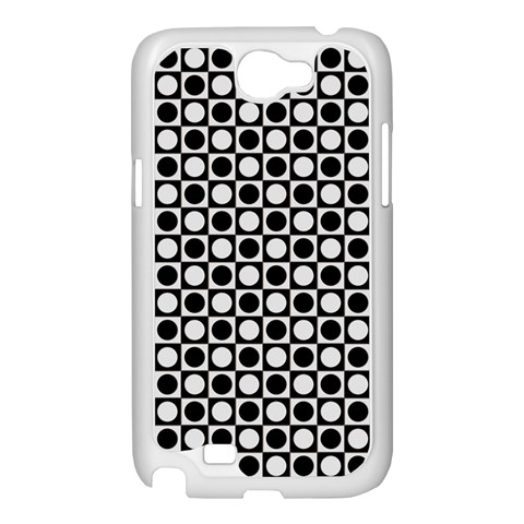 Modern Dots In Squares Mosaic Black White Samsung Galaxy Note 2 Case (White)