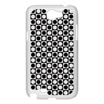 Modern Dots In Squares Mosaic Black White Samsung Galaxy Note 2 Case (White) Front