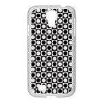 Modern Dots In Squares Mosaic Black White Samsung GALAXY S4 I9500/ I9505 Case (White) Front