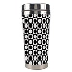 Modern Dots In Squares Mosaic Black White Stainless Steel Travel Tumblers Left