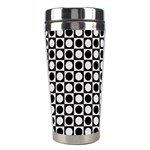Modern Dots In Squares Mosaic Black White Stainless Steel Travel Tumblers Center