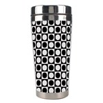 Modern Dots In Squares Mosaic Black White Stainless Steel Travel Tumblers Right
