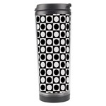 Modern Dots In Squares Mosaic Black White Travel Tumbler Left