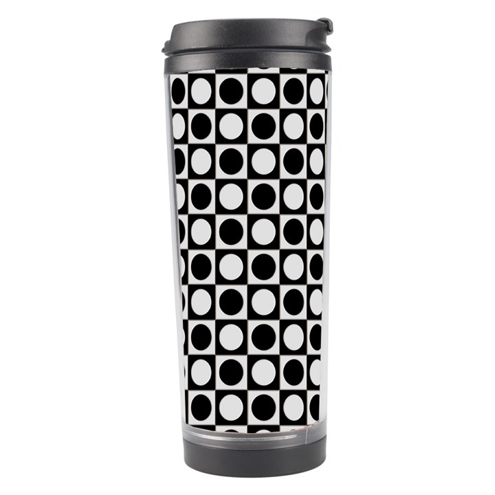 Modern Dots In Squares Mosaic Black White Travel Tumbler