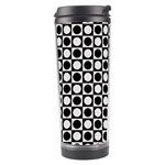 Modern Dots In Squares Mosaic Black White Travel Tumbler Center