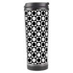 Modern Dots In Squares Mosaic Black White Travel Tumbler Right